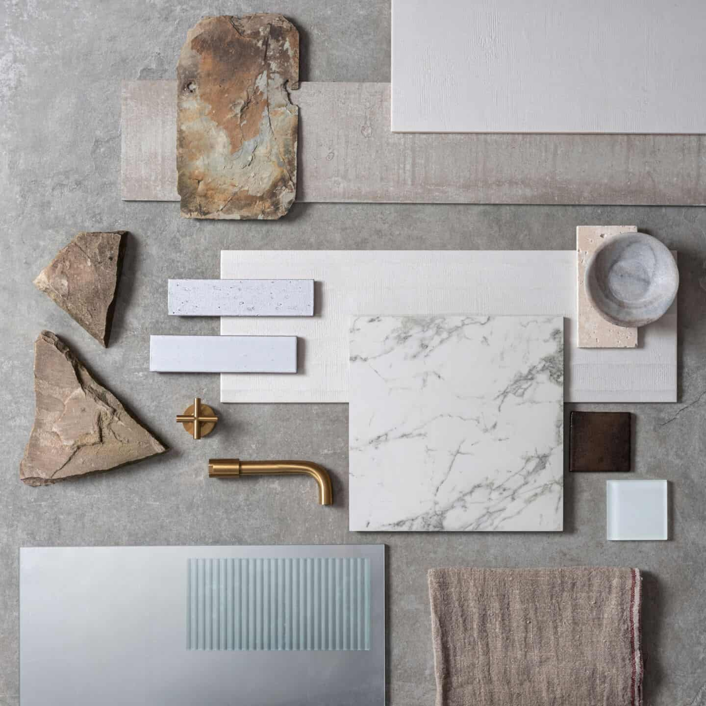 Texture Play Mood Board created by Original Style and featuring textured materials and tiles to show how to use texture in the bathroom