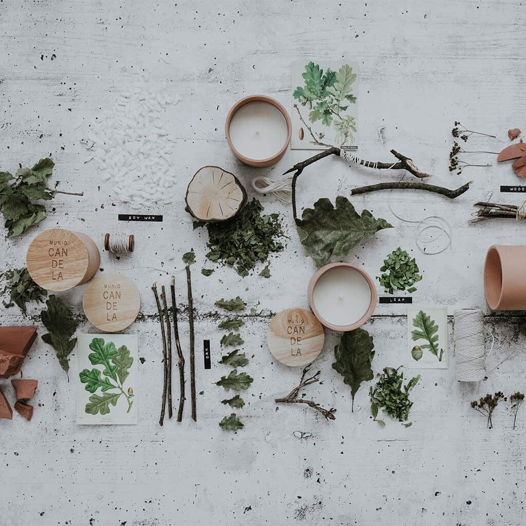 Textured Lives. Using texture in interiors to bring your home to life.  Candles, twigs, leaves and twine create a beautiful flat lay image