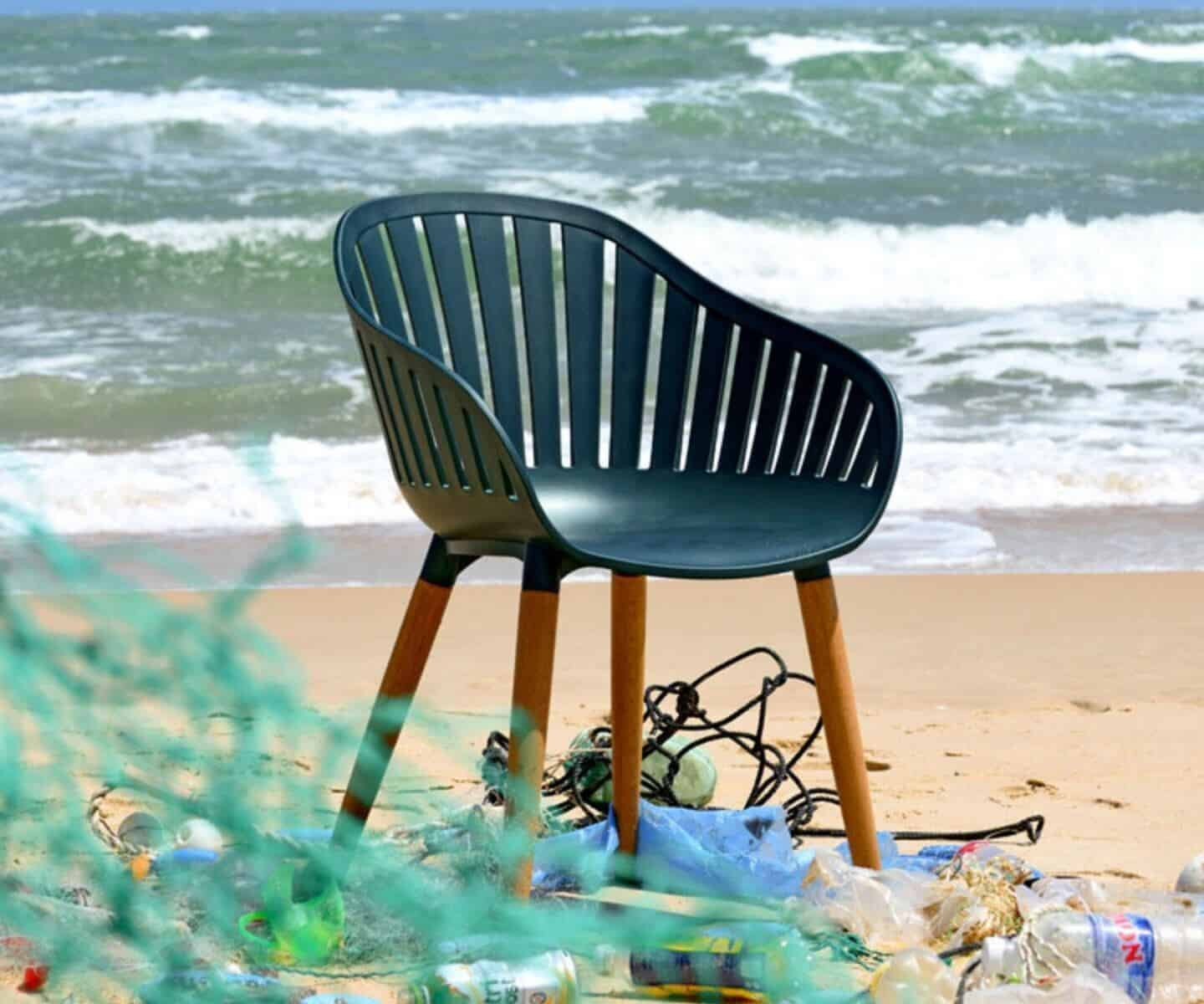 DuraOcean award-winning outdoor chair from LifestyleGarden is made from nets, ropes and plastic waste recovered from the world's oceans. Perfect for sustainable interior design