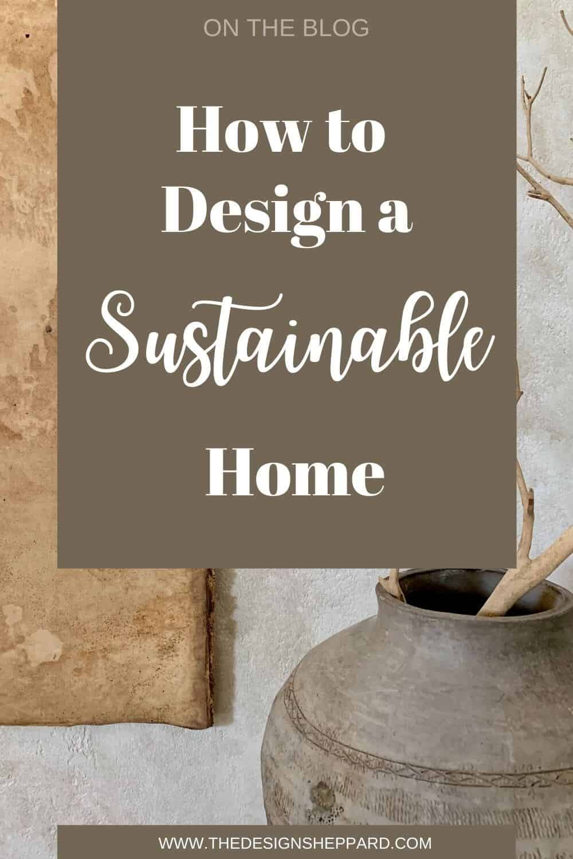 Sustainable interior design graphic for pinterest