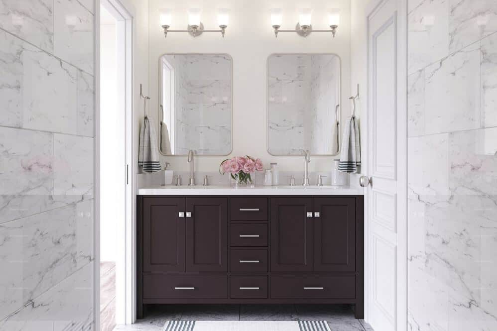 Arielbath double basin on dark vanity unit with two mirrors above