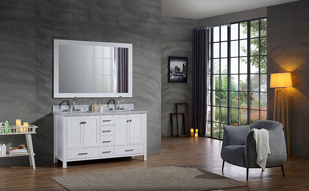 Arielbath bathroom. Double white anity unit with mirror above. Large steel-framed windows to the right and a cosy armchair.
