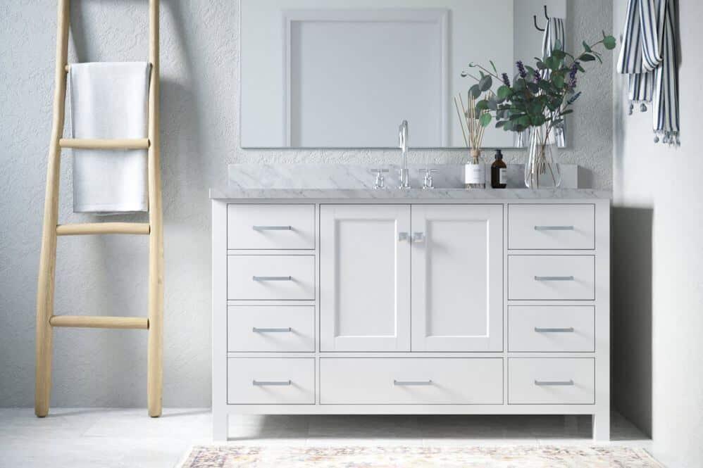 Arielbath bathroom basin on white vanity unit with wooden towel ladder beside