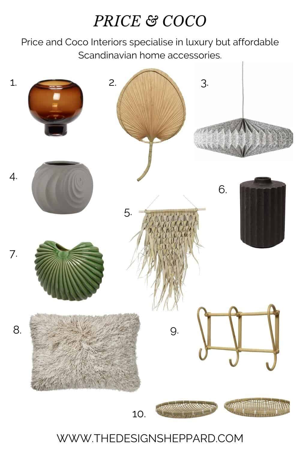 Affordable luxury homewares from Price & Coco Interiors.