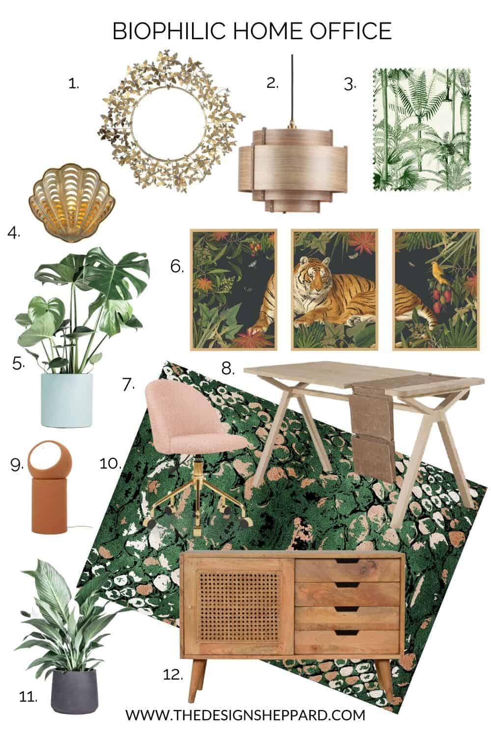 a moodboard featuring home interior products to create a Biophilic home office.