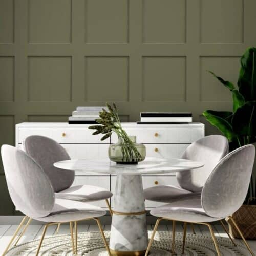Wooden panelling wallpaper from I Love Wallpaper in a dining room setting