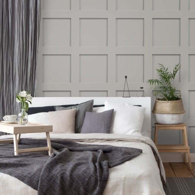 Wooden panelling wallpaper from I Love Wallpaper in a bedroom setting