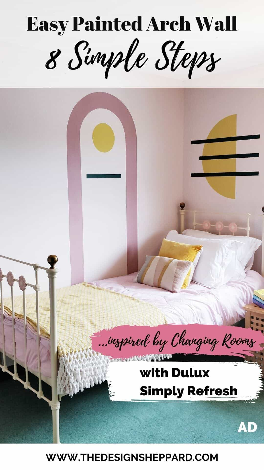 Pinterest Pin for creating a DIY Painted Arch Accent Wall