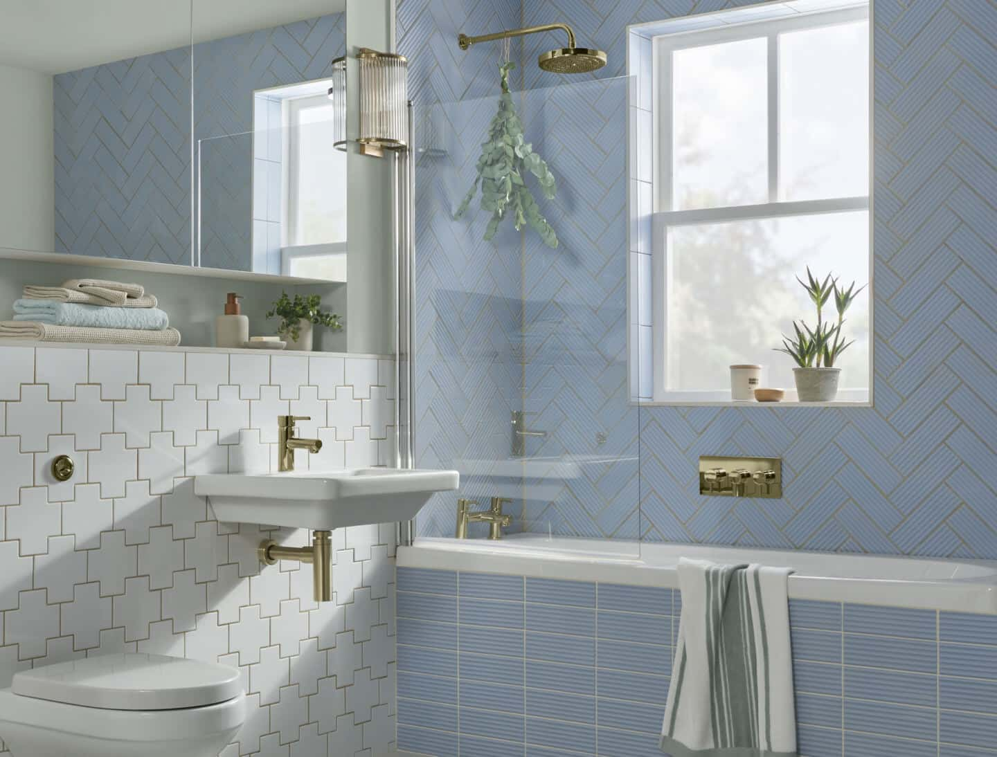 A bathroom tiled in Topps Tiles Flute tiles Dulux Colour of the Year 2022 Bright Skies