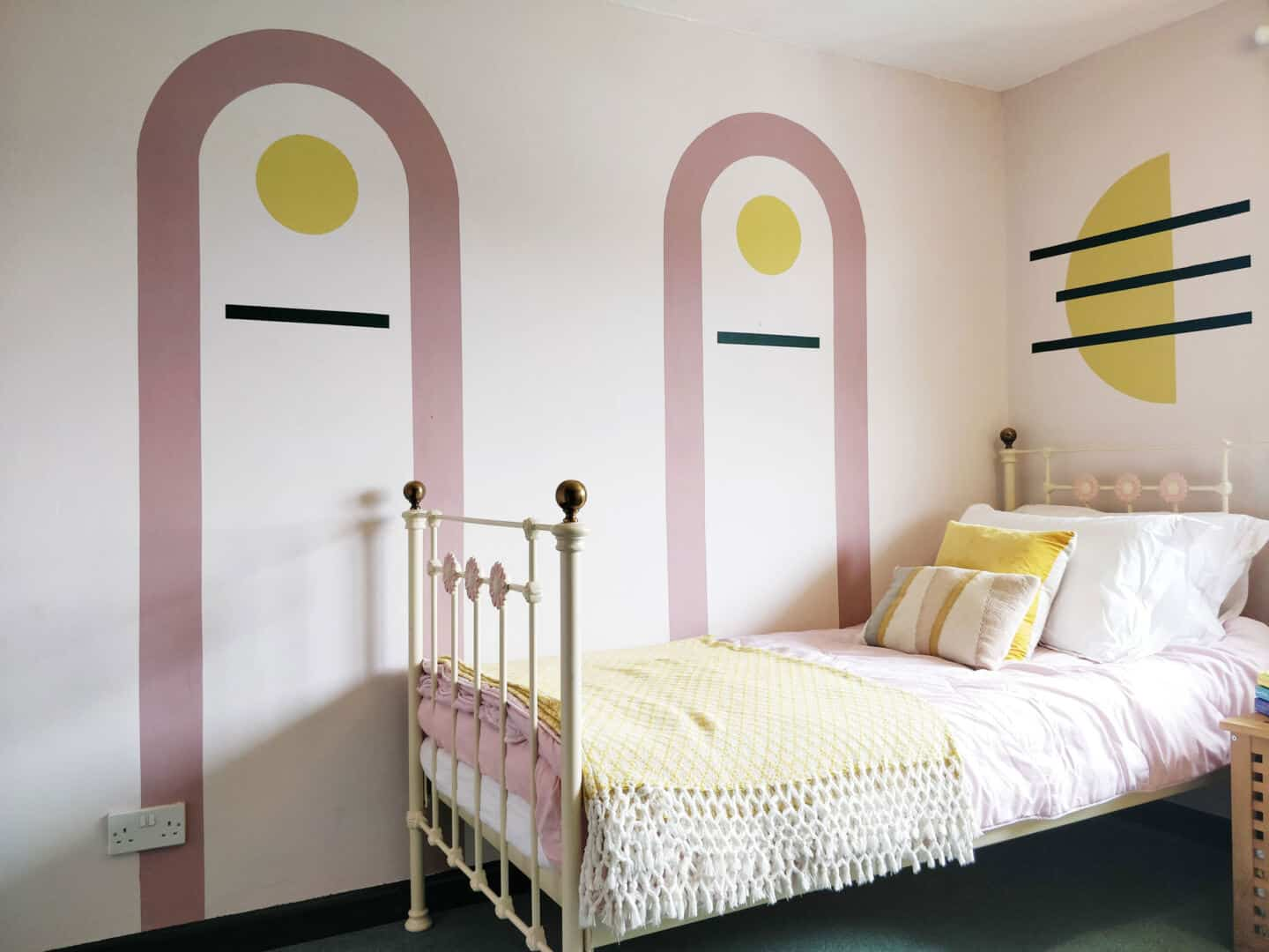 Bedroom featuring a DIY Painted Arch Accent Wall
