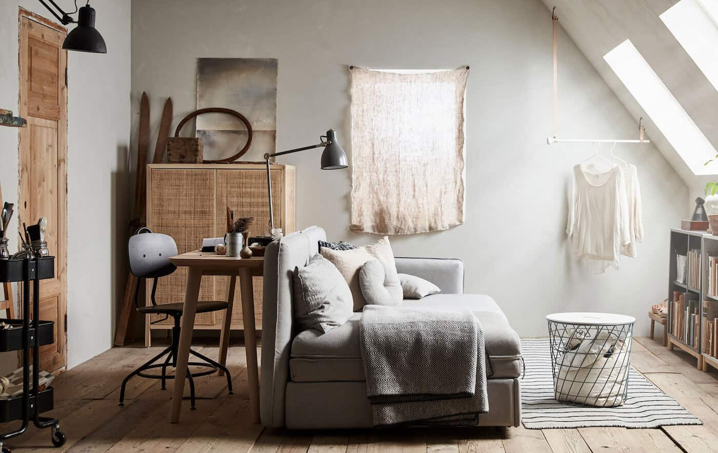 Japandi living room in neutral colour palette from IKEA