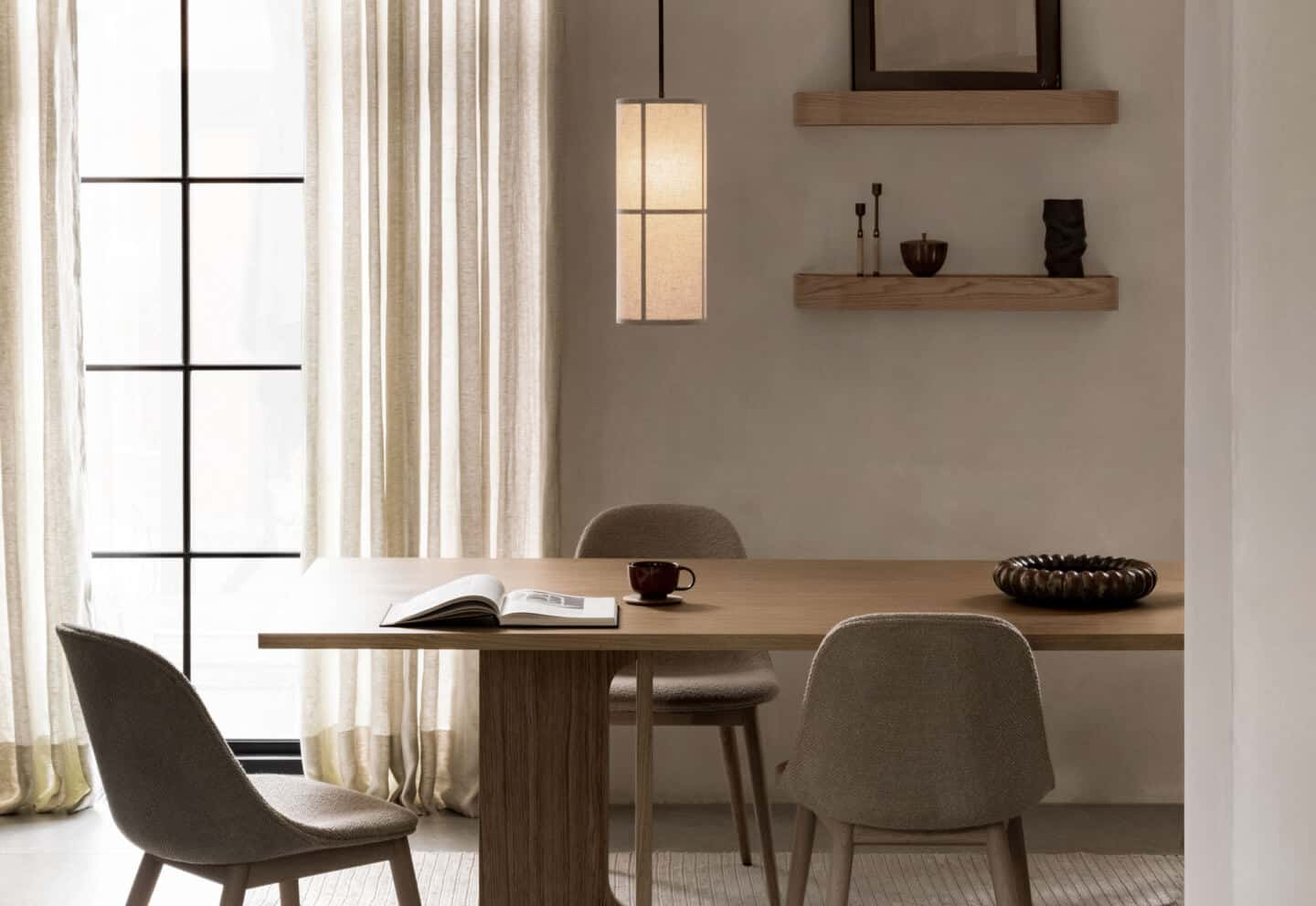 Japandi dining room featuring furniture and lighting from Menu