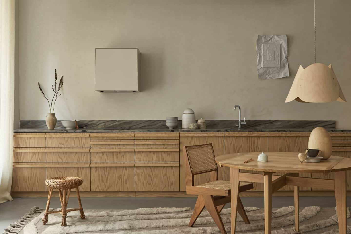 Japandi kitchen in oak and marble from Superfront